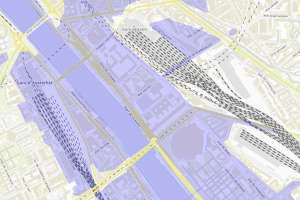 Gebiet Überschwemmungen Paris Gare de Lyon