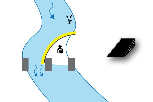 Fall 3 Kofferdamm auf Brückenpfeiler gestützt