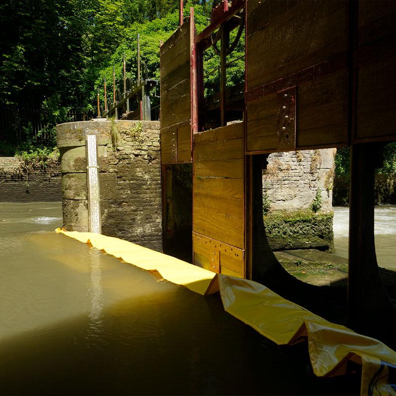 Restaurierung des Sieges des Moulin de Pidou 15. Jahrhundert   Rivière Aa - Flexibler Kofferdamm Water-Gate © WA-2850