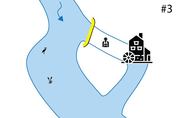 Water-Gate © flexible Kofferdämme. Diagramm einer senkrechten Installation auf einem Sekundärbett. Fall Nr. 3
