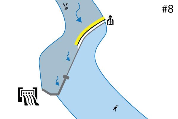 Flexible Kofferdämme Water-Gate ©. Diagramm einer Installation an einer Flussschwelle Überlauf. Fall Nr. 7