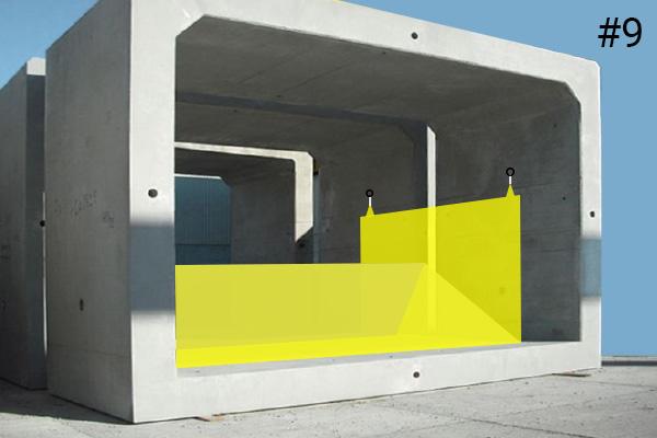 Flexible Water-Gate © Kofferdämme. Diagramm einer Installation in einem Betonkanal Fall #9